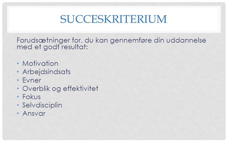 succeskriterium Forudsætninger for, du kan gennemføre din uddannelse med et godt resultat: Motivation.