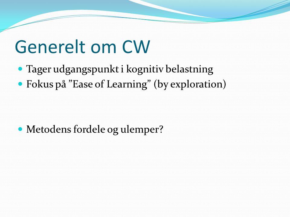 Generelt om CW Tager udgangspunkt i kognitiv belastning