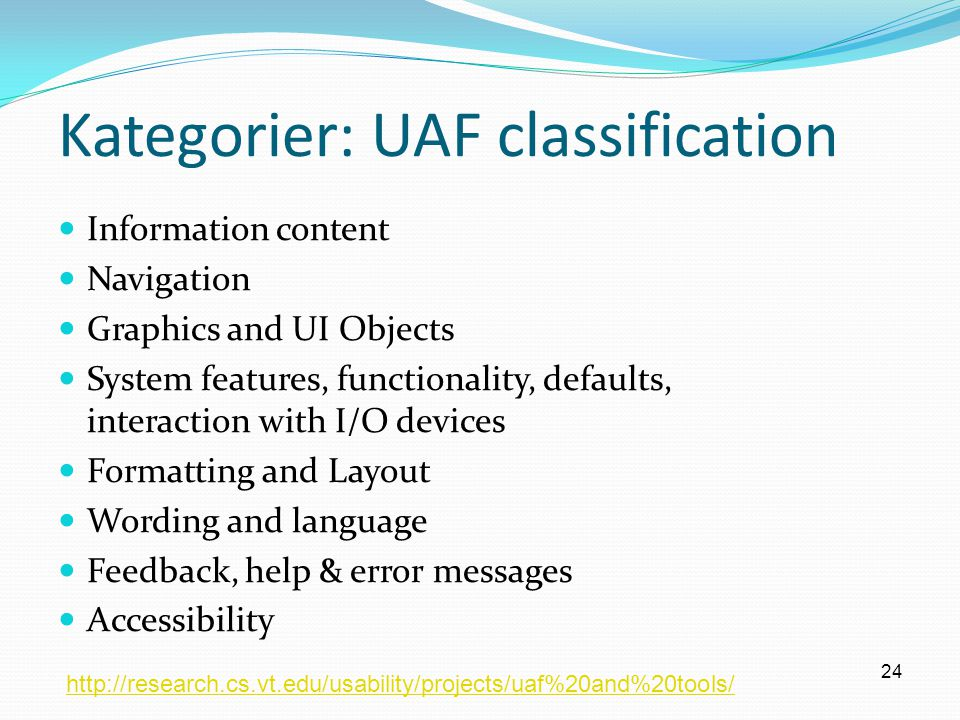 Kategorier: UAF classification