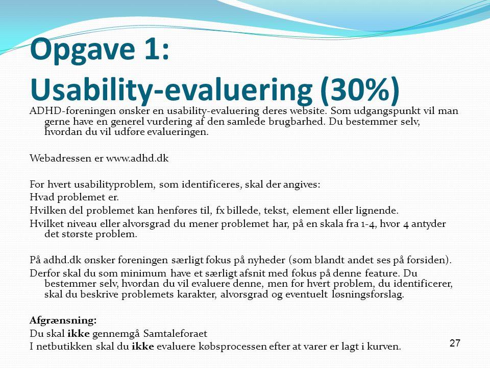 Opgave 1: Usability-evaluering (30%)