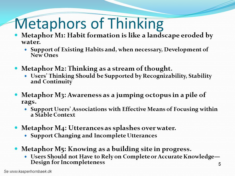 Metaphors of Thinking Metaphor M1: Habit formation is like a landscape eroded by water.