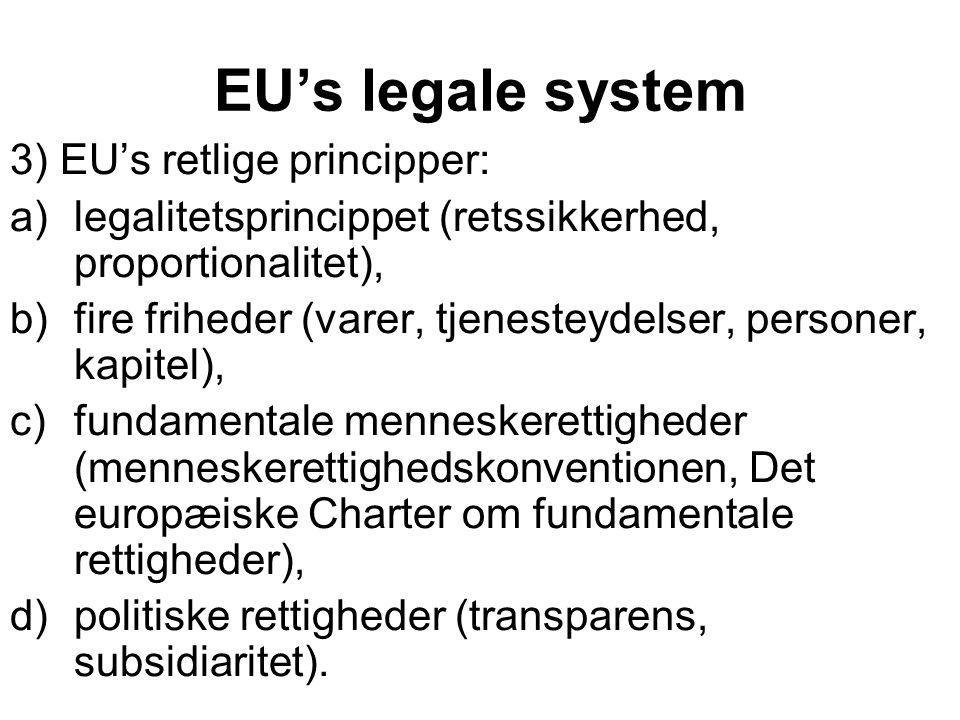 EU's legale system 3) EU's retlige principper:
