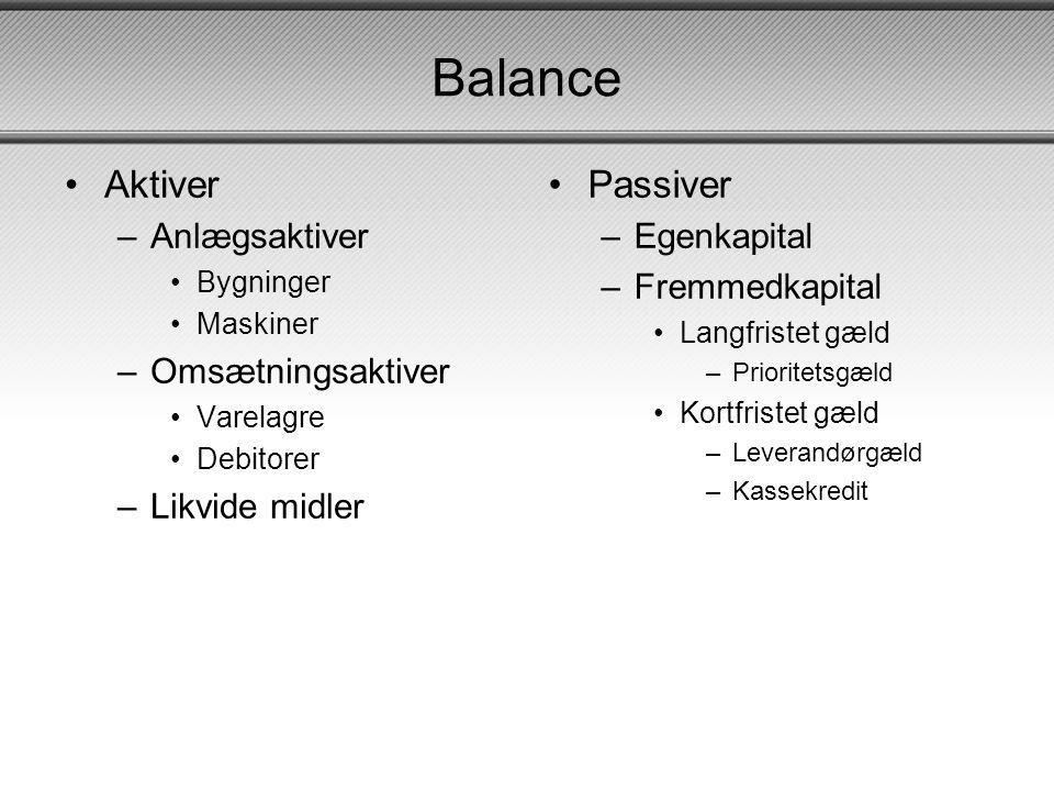 Balance Aktiver Passiver Anlægsaktiver Omsætningsaktiver