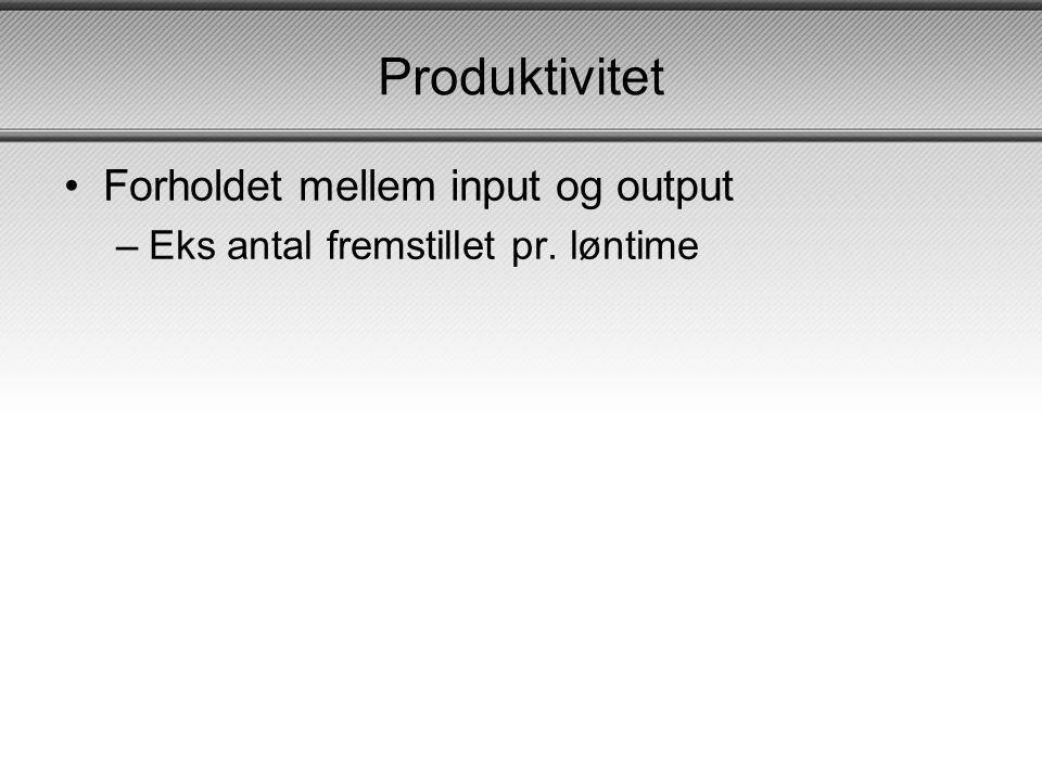 Produktivitet Forholdet mellem input og output