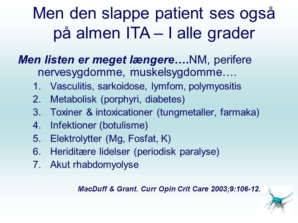 Men den slappe patient ses også på almen ITA – I alle grader