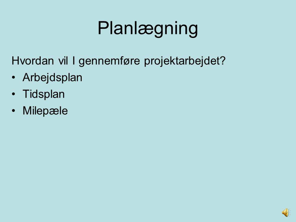 Planlægning Hvordan vil I gennemføre projektarbejdet Arbejdsplan