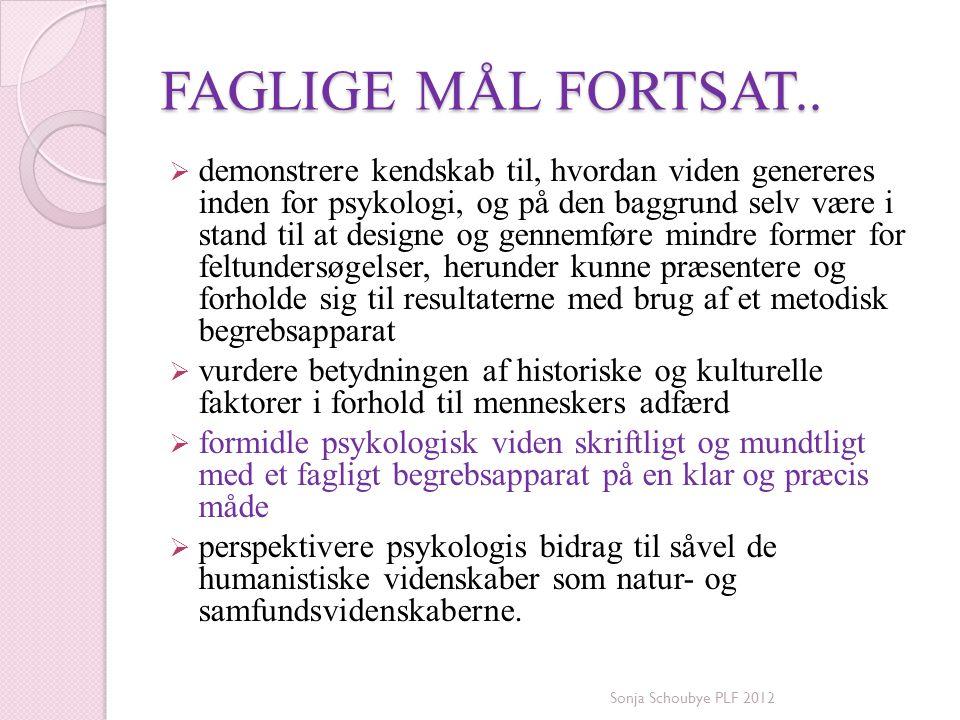FAGLIGE MÅL FORTSAT..