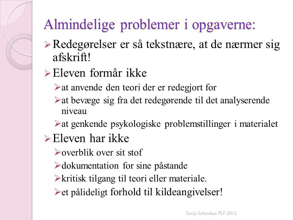 Almindelige problemer i opgaverne: