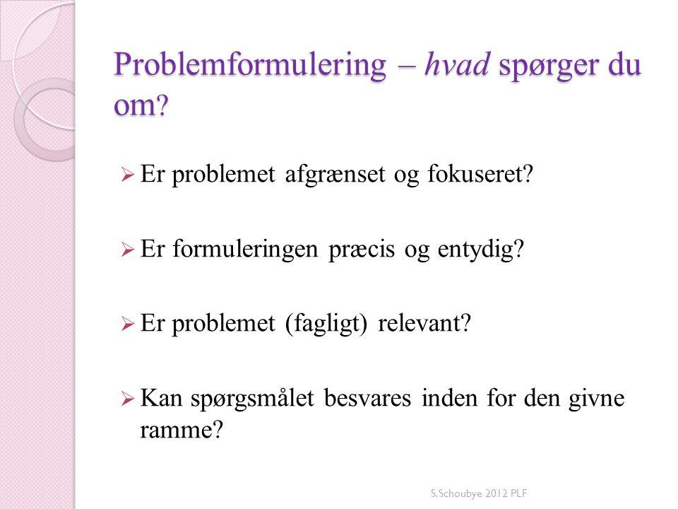 Problemformulering – hvad spørger du om