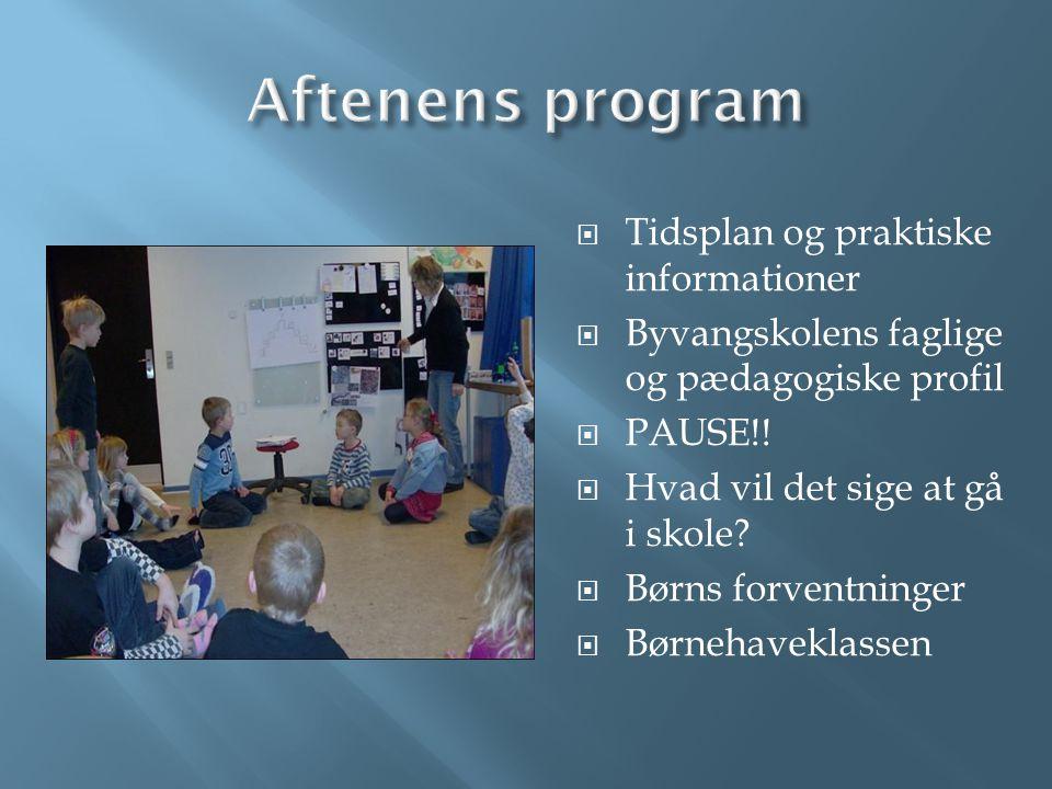 Aftenens program Tidsplan og praktiske informationer