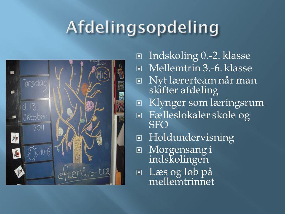 Afdelingsopdeling Indskoling 0.-2. klasse Mellemtrin 3.-6. klasse