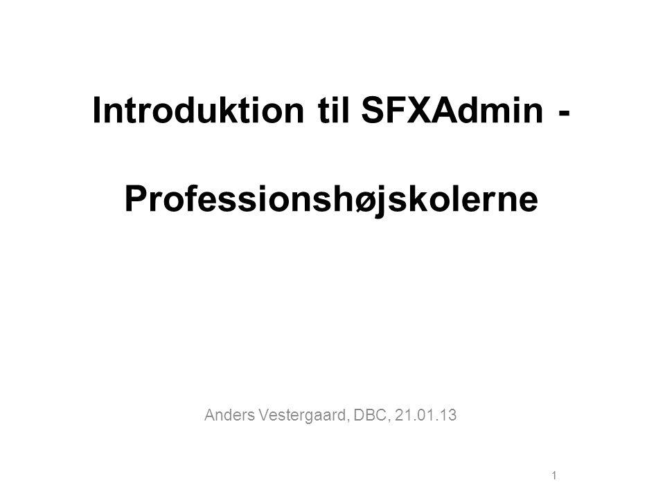 Introduktion til SFXAdmin - Professionshøjskolerne