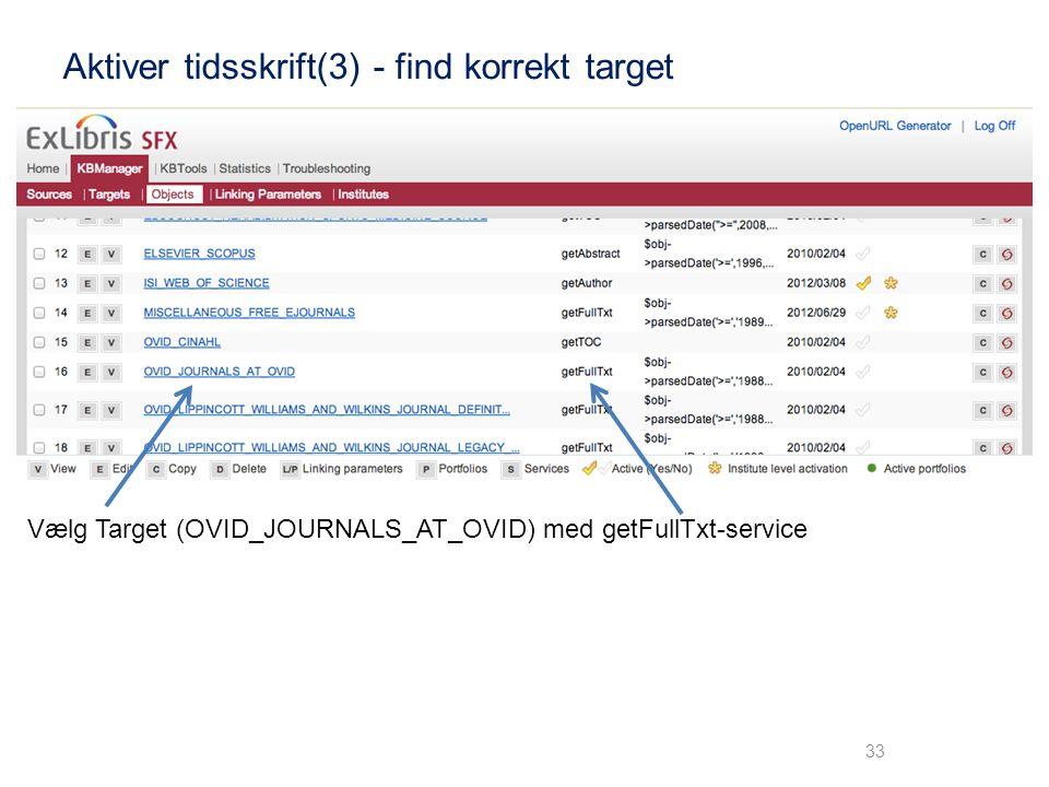 Aktiver tidsskrift(3) - find korrekt target