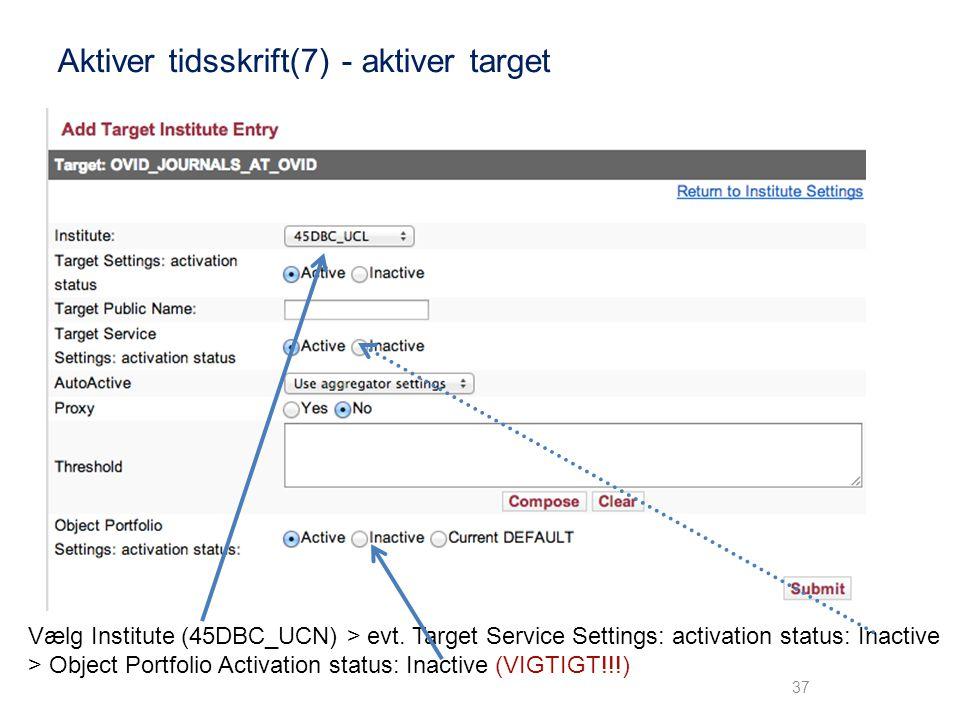 Aktiver tidsskrift(7) - aktiver target