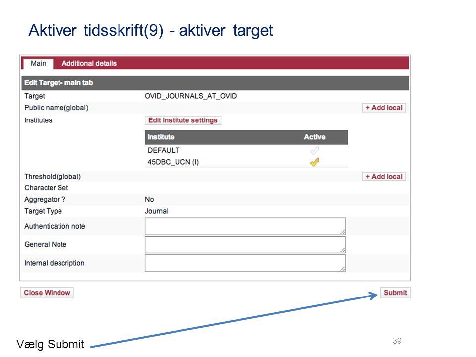 Aktiver tidsskrift(9) - aktiver target