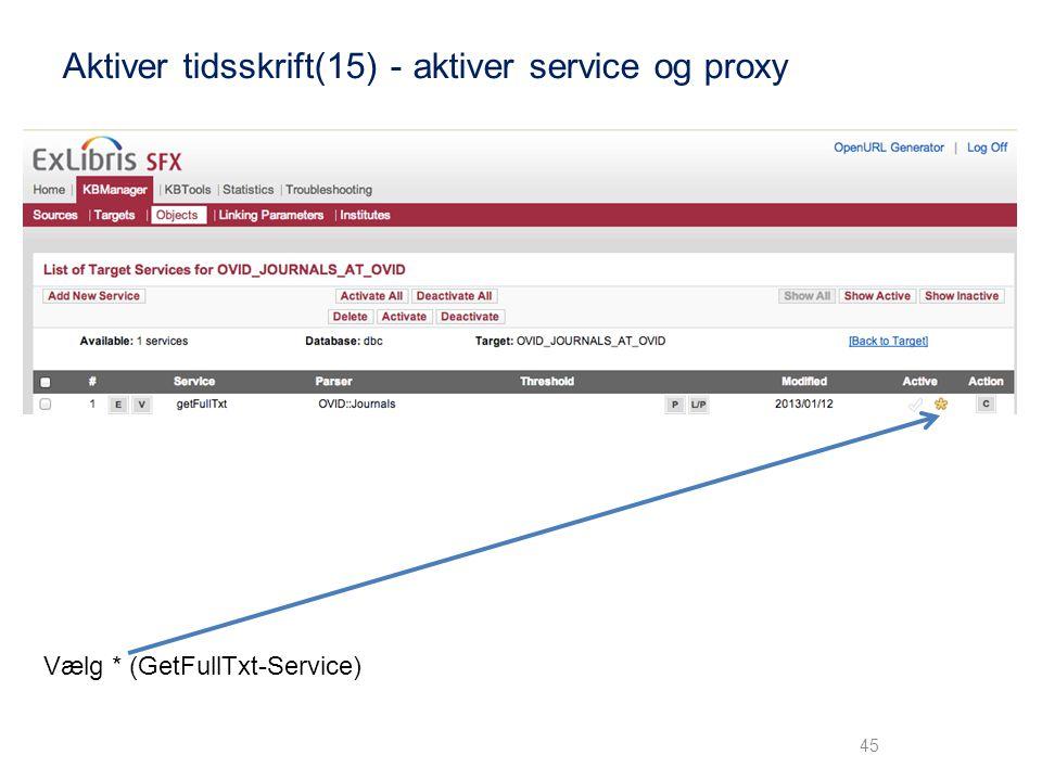 Aktiver tidsskrift(15) - aktiver service og proxy
