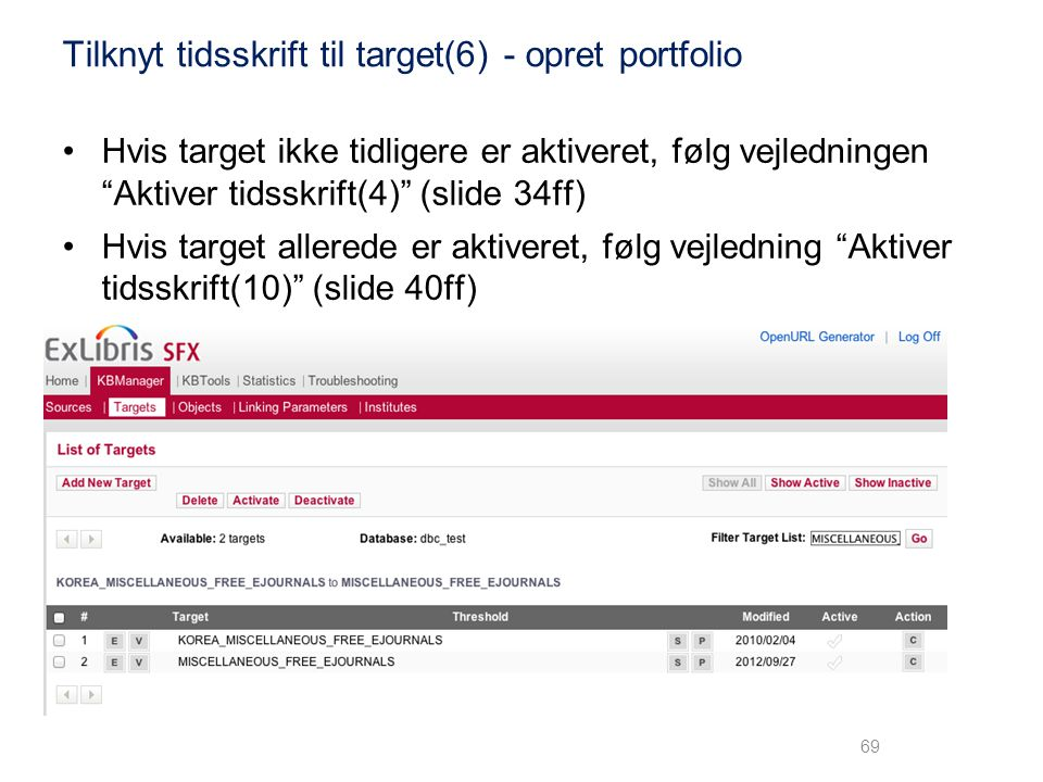 Tilknyt tidsskrift til target(6) - opret portfolio
