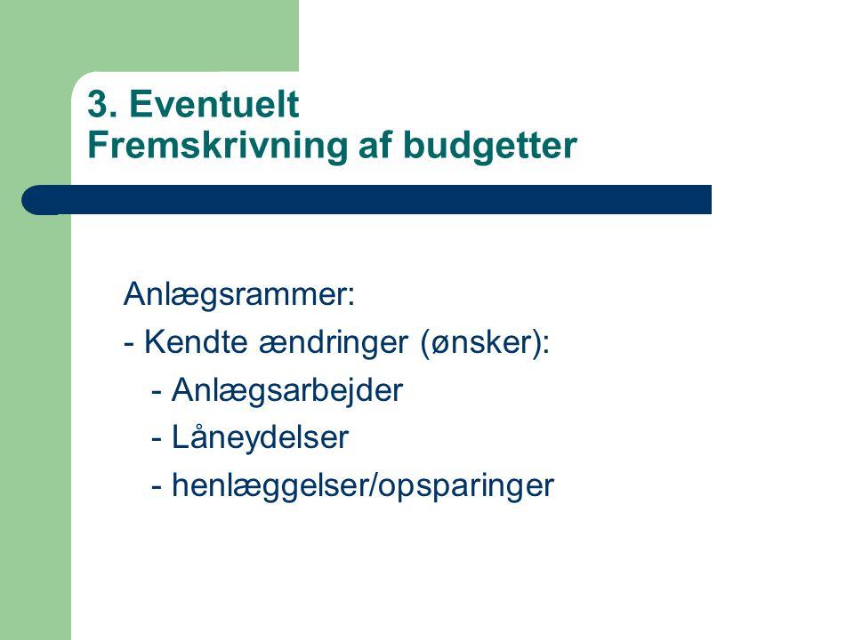 3. Eventuelt Fremskrivning af budgetter