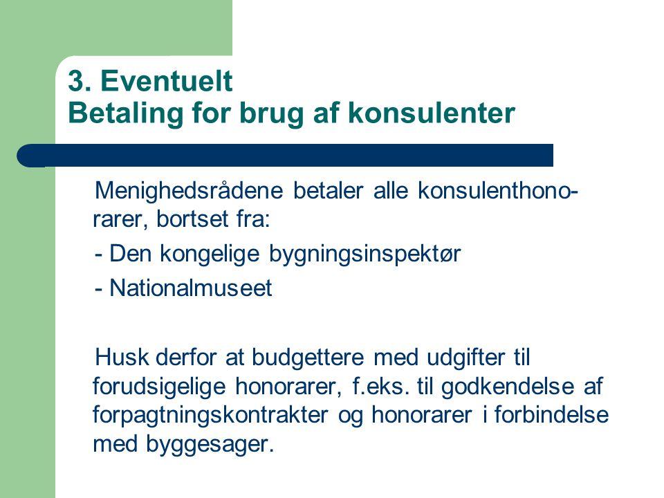 3. Eventuelt Betaling for brug af konsulenter