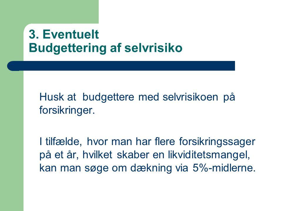 3. Eventuelt Budgettering af selvrisiko