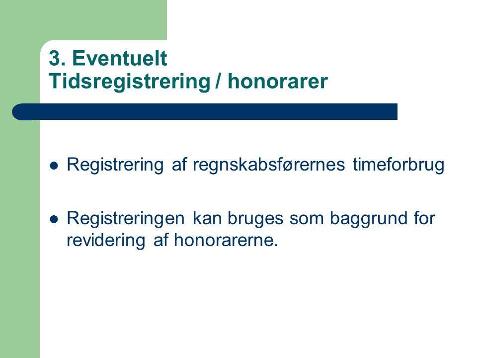 3. Eventuelt Tidsregistrering / honorarer