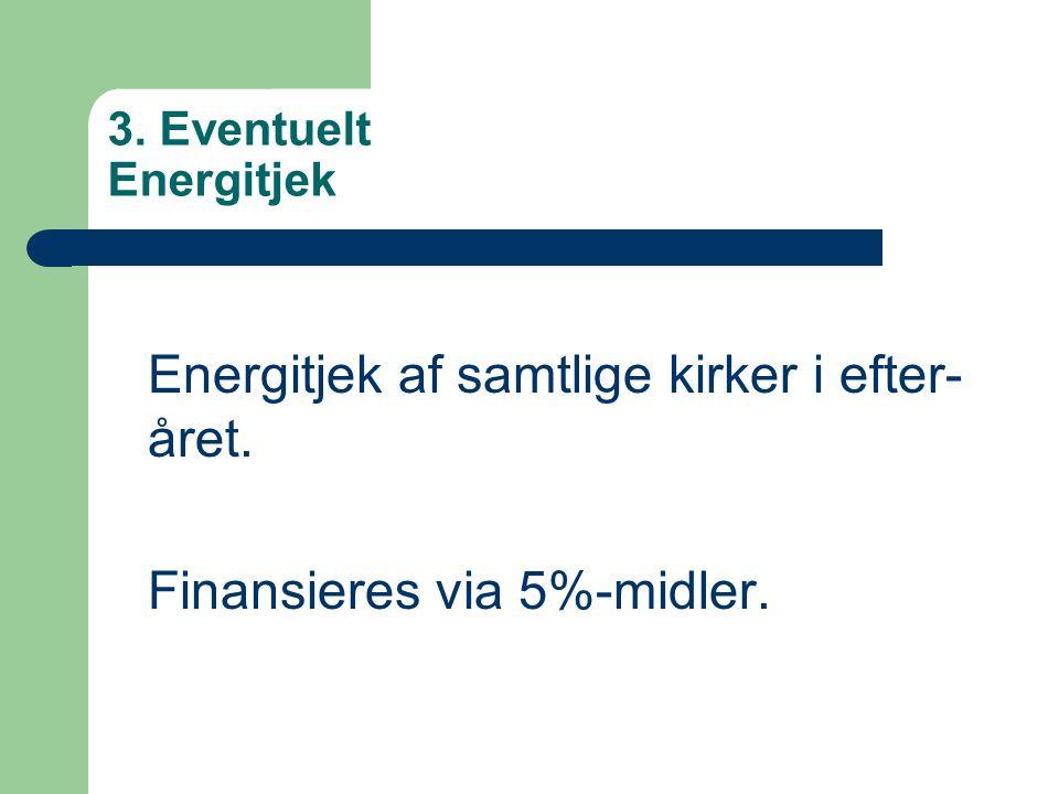 Energitjek af samtlige kirker i efter-året. Finansieres via 5%-midler.