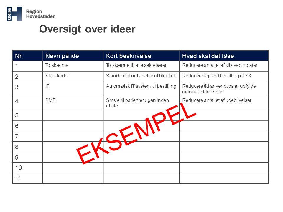 EKSEMPEL Oversigt over ideer Nr. Navn på ide Kort beskrivelse