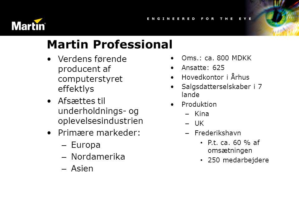 Martin Professional Verdens førende producent af computerstyret effektlys. Afsættes til underholdnings- og oplevelsesindustrien.