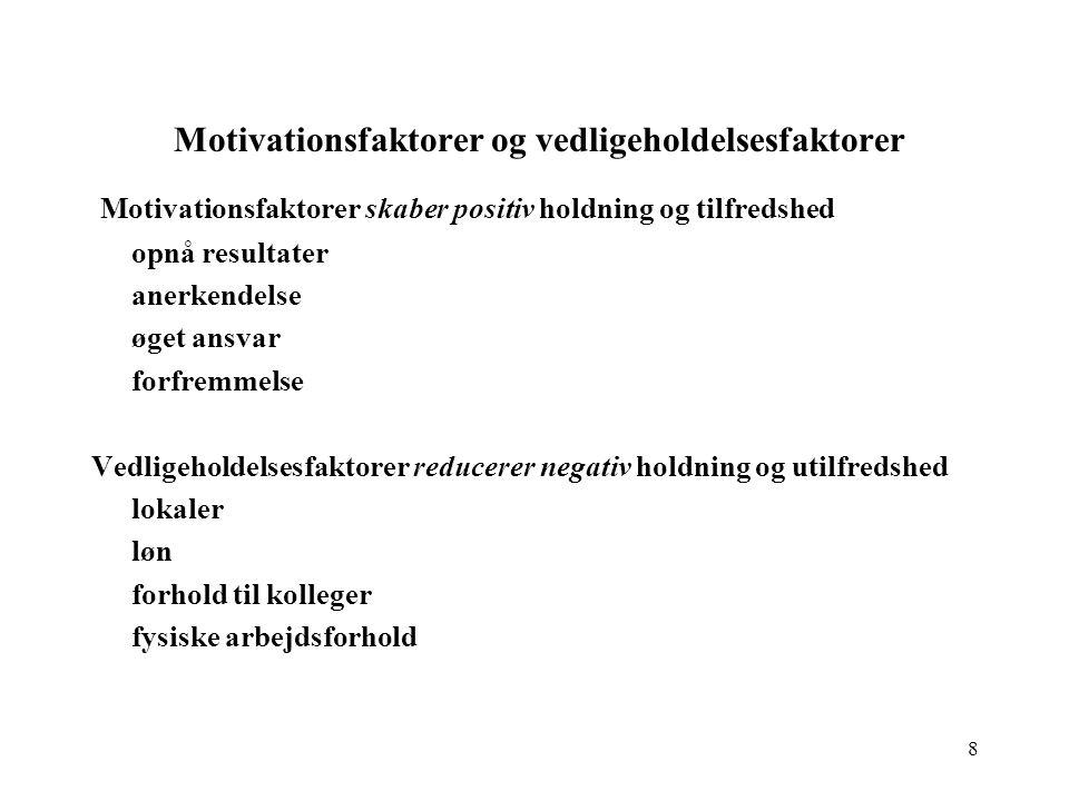 Motivationsfaktorer og vedligeholdelsesfaktorer