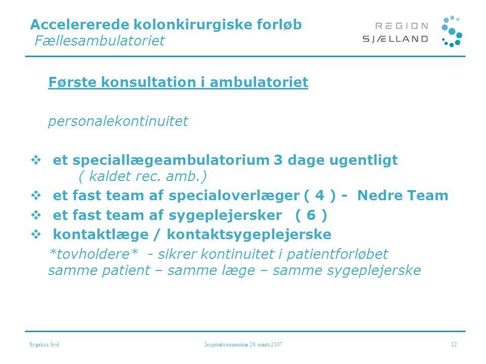 Accelererede kolonkirurgiske forløb Fællesambulatoriet