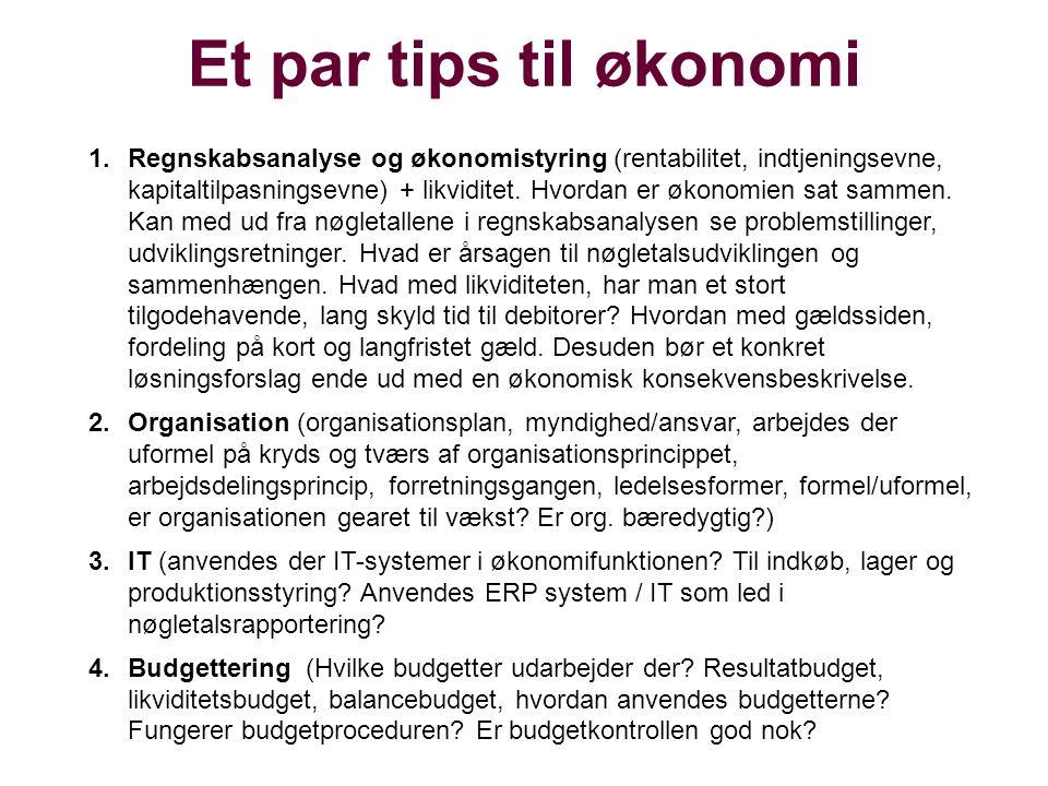 Et par tips til økonomi