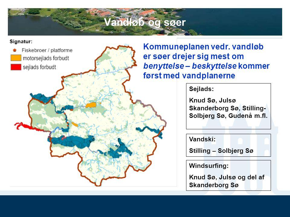 Vandløb og søer Kommuneplanen vedr. vandløb er søer drejer sig mest om benyttelse – beskyttelse kommer først med vandplanerne.