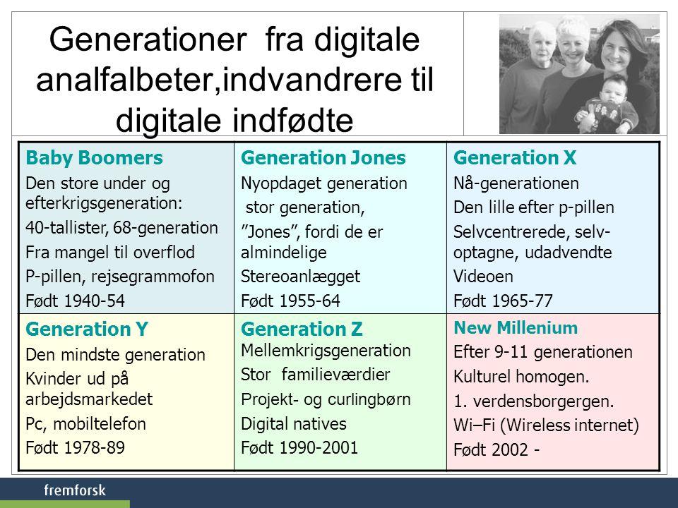 Generationer fra digitale analfalbeter,indvandrere til digitale indfødte