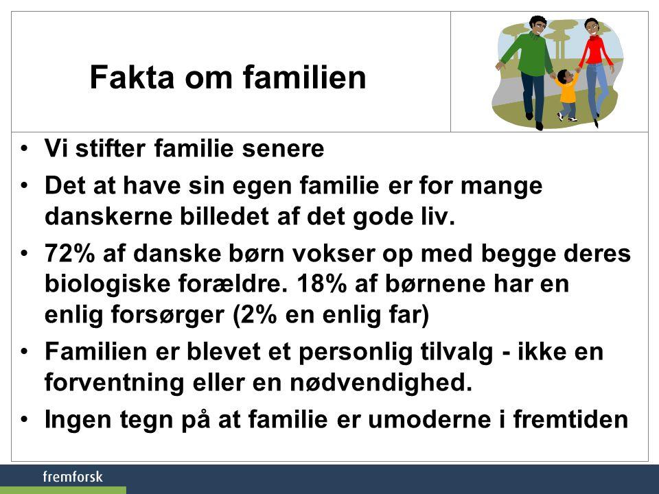 Fakta om familien Vi stifter familie senere
