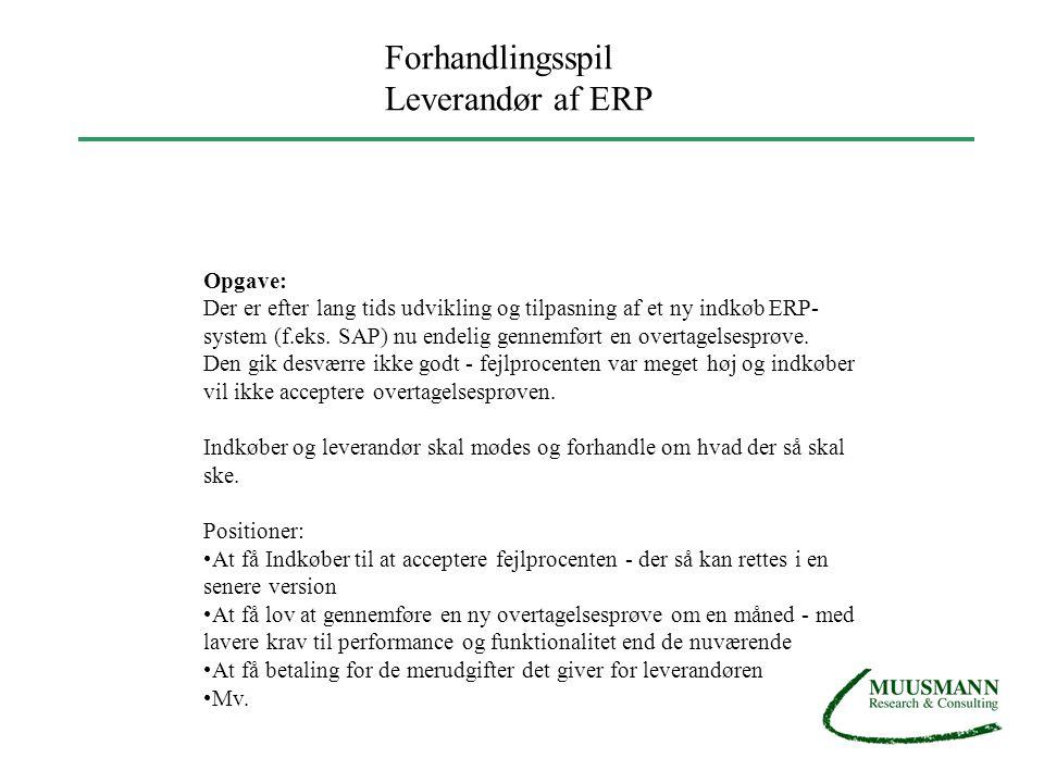 Forhandlingsspil Leverandør af ERP Opgave: