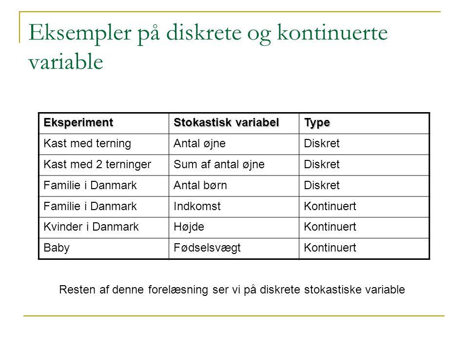Eksempler på diskrete og kontinuerte variable
