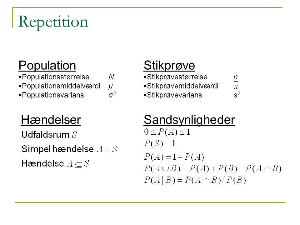 Repetition Population Stikprøve Hændelser Sandsynligheder