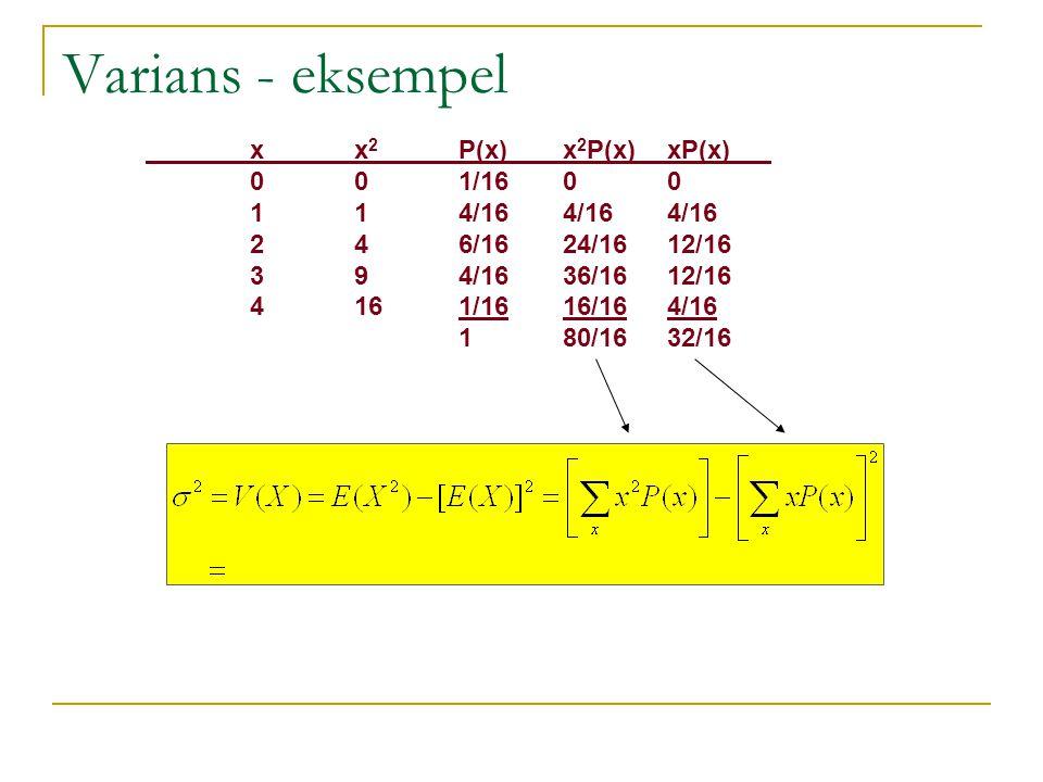 Varians - eksempel x x2 P(x) x2P(x) xP(x) 0 0 1/16 0 0