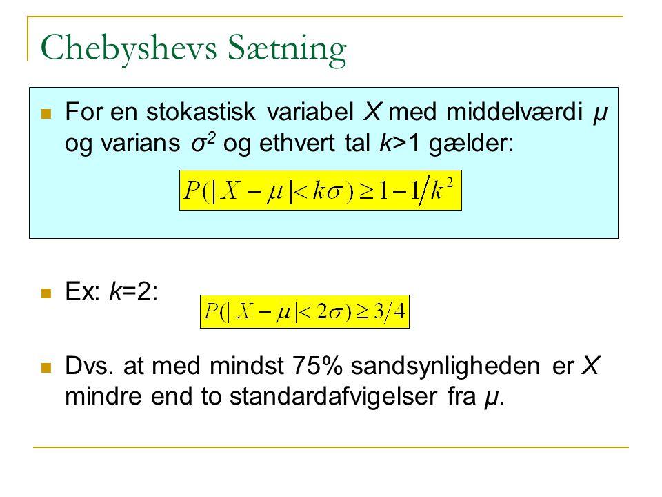 Chebyshevs Sætning For en stokastisk variabel X med middelværdi μ og varians σ2 og ethvert tal k>1 gælder: