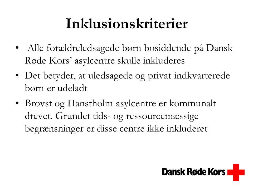 Inklusionskriterier Alle forældreledsagede børn bosiddende på Dansk Røde Kors' asylcentre skulle inkluderes.