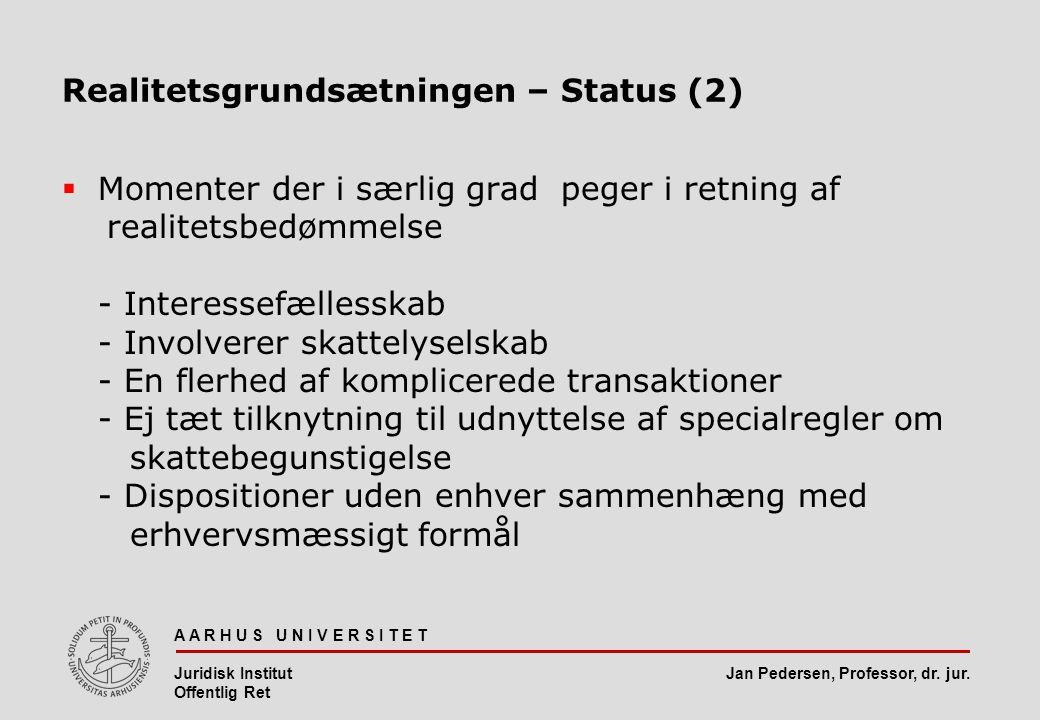 Realitetsgrundsætningen – Status (2)