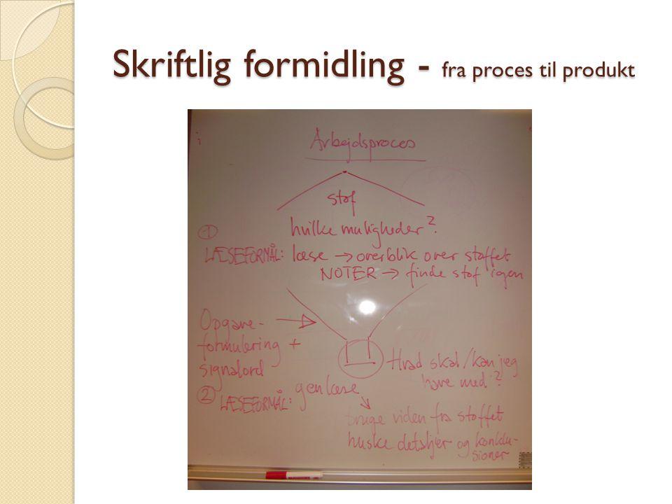 Skriftlig formidling - fra proces til produkt