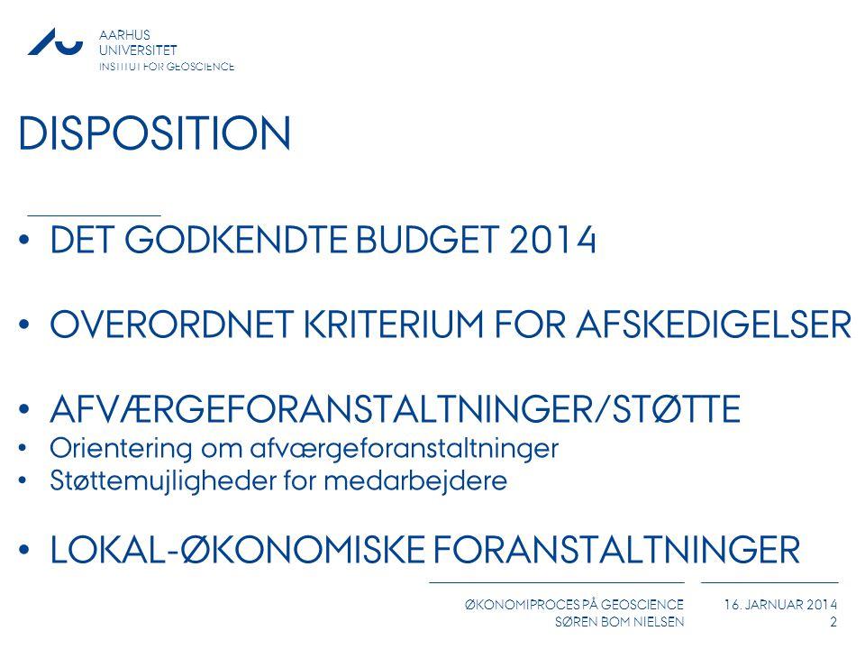 DISPOSITION DET GODKENDTE BUDGET 2014