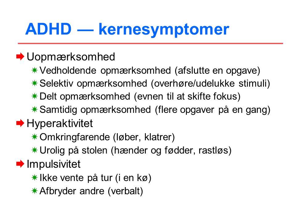 ADHD — kernesymptomer Uopmærksomhed Hyperaktivitet Impulsivitet