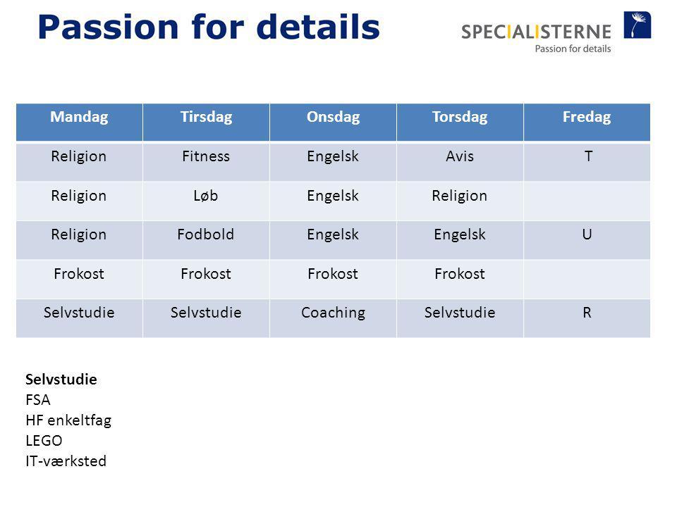Mandag Tirsdag. Onsdag. Torsdag. Fredag. Religion. Fitness. Engelsk. Avis. T. Løb. Fodbold.