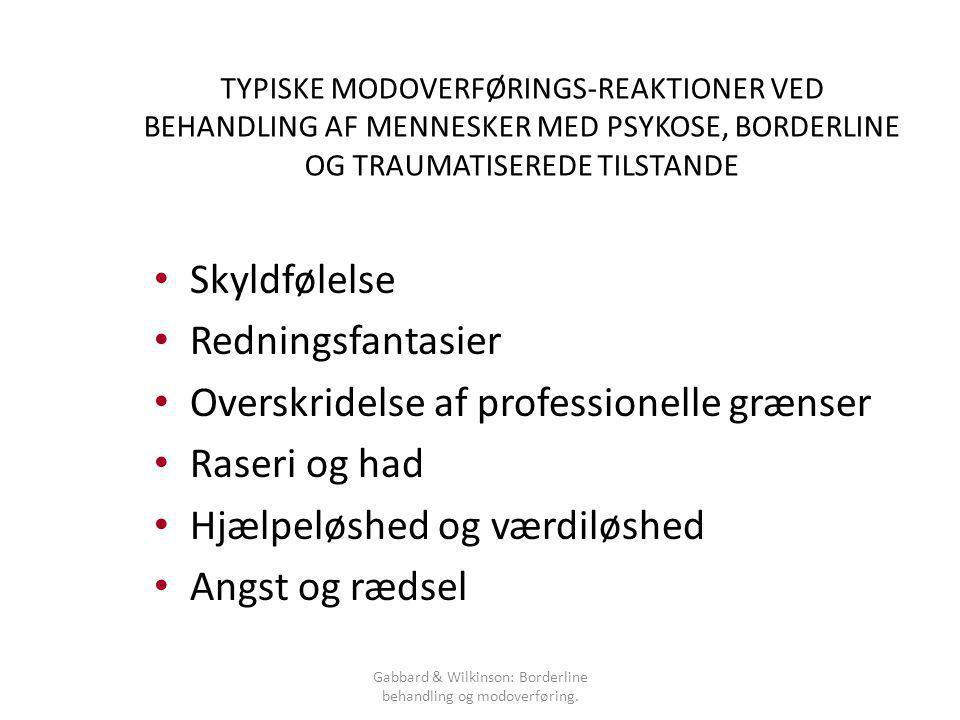 Gabbard & Wilkinson: Borderline behandling og modoverføring.