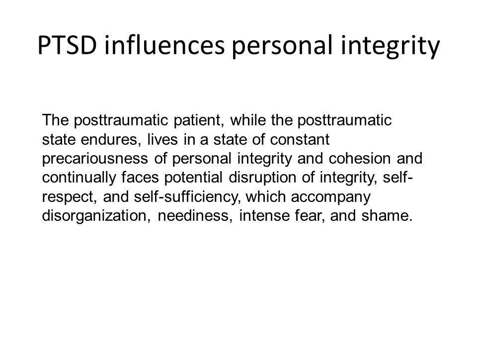 PTSD influences personal integrity