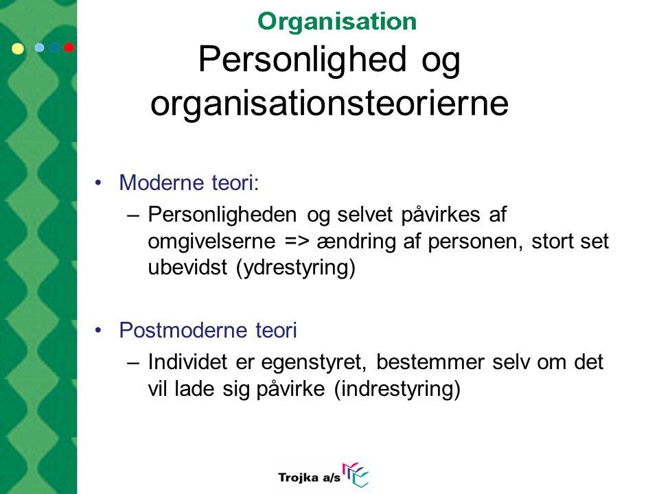 Personlighed og organisationsteorierne