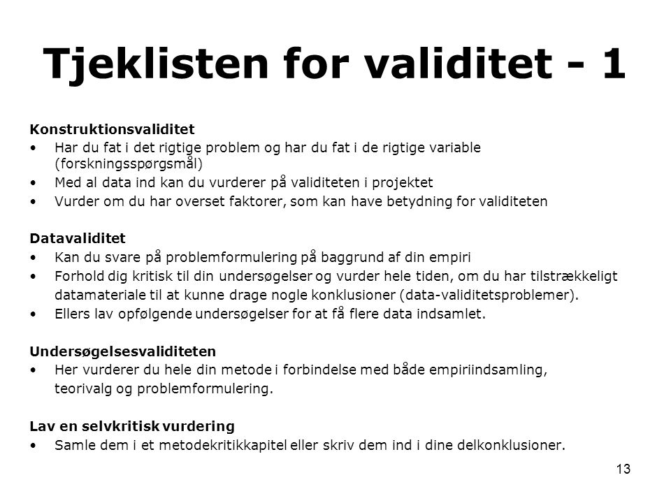 Tjeklisten for validitet - 1