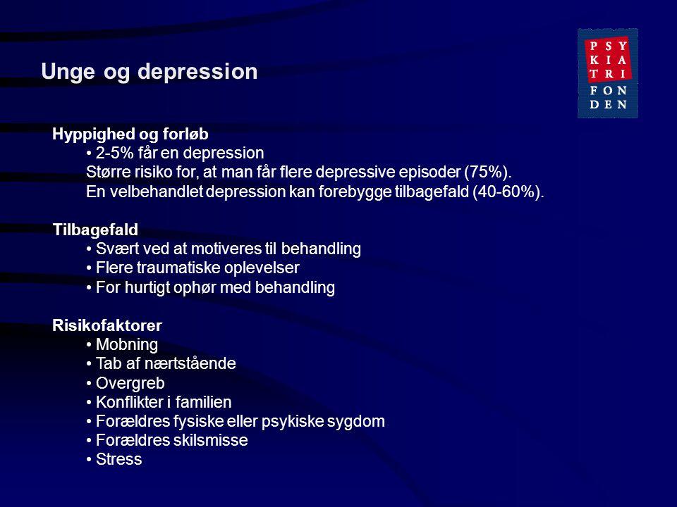 Unge og depression Hyppighed og forløb 2-5% får en depression